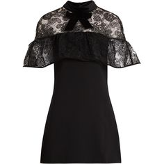 Self-portrait Line lace mini dress ($455) ❤ liked on Polyvore featuring dresses, black, shift dress, see-through dresses, short dresses, lace shift dress and nude lace dress