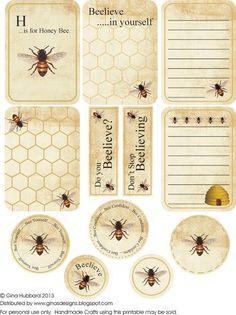 bijen honing etiketten labels