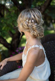 Gold Boho Flower Leaf Hair Vine, Bridal Hair comb, Wire Gold Flower Hair Comb, Boho Wedding Gold Hair vine leaves, Boho Headpiece - 'SABLE'