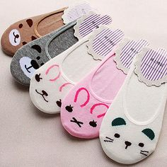 Women Invisible Cotton Socks Nonslip Loafer Liner Low Cut Cartoon Animal Fashion