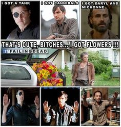 "Come ON Carol!! Rescue them!! You have seven months to come up with a better plan than... ""Look at the flowers..."" lol #TWD"