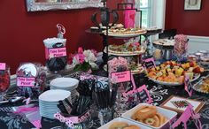 Pink and Damask Baby Shower table scape. #timelesstreasure