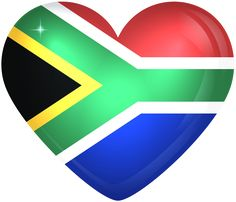 South Africa Large Heart Flag