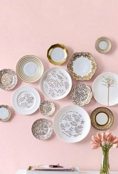 have guests sign charger plates with a sharpie or metallic marker. hang in your home after the wedding! alternative guestbook idea.