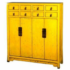 Bahut chinois 8 tiroirs 4 portes jaune - mobilierdasie.com