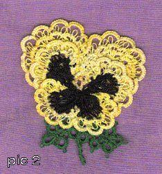 3D Pansy  http://www.allcrafts.net/fjs.htm?url=web.archive.org/web/20000824105730/http://www.geocities.com/pamela+devries/My-3D-Pansy-Pattern.html
