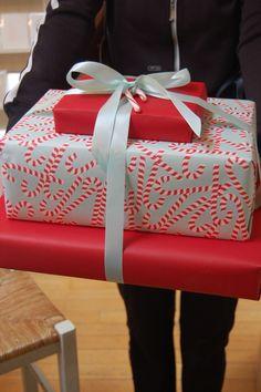 red and aqua Christmas wrap