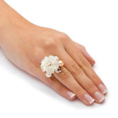 PalmBeach TCW Flower-Shaped Genuine Mother-Of-Pearl Cultured Freshwater Pearl Sterling Silver Flower Ring Naturalist Mother Of Pearl Jewelry, Sterling Silver Flowers, Pearl Flower, Carnation, Flower Shape, Pearl Ring, Peridot, Fresh Water, Garnet