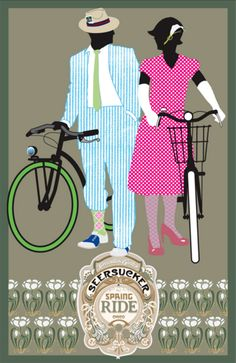 Seersucker-Ride-Chico-Poster-Jake-Early-depicting-couple-with-bicycles-wearing-seersucker-fashion