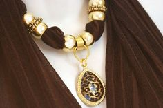 Chocolate Brown Scarf Jewelry Pendant by RavensNestScarfJewel, $24.00