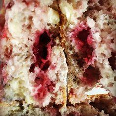 Aunty V's Haven — A Cream Cheese Raspberry Scone broken in half! ...