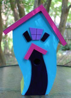 Vibrant Blue Wacky Bird House #birdhouse