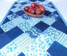 Blue Table Runner Quilt  Delft Blue and White  by KeriQuilts, $55.00