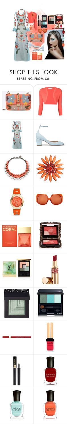 """""""Match matchy: fashion & beauty #20"""" by mariloli1303 ❤ liked on Polyvore featuring Valentino, Carolina Herrera, Gucci, Ellen Conde, Michael Kors, The Row, Anna Sui, Yves Saint Laurent, NARS Cosmetics and Shiseido"""