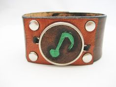 Music Bracelet Hand Carved Leather Bracelet by Treeleafleather