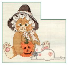 Free Cross Stitch Pattern - Precious Moments Halloween Cat