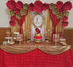 Red and gold decorations Quinceanera dessert table. Red and gold decorations Birthday Table Decorations, Quince Decorations, Gold Party Decorations, Decoration Table, Party Themes, Party Ideas, Quinceanera Planning, Quinceanera Decorations, Quinceanera Party