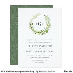 Shop Wild Meadow Monogram Wedding Invitation created by RedwoodAndVine. Personalize it with photos & text or purchase as is! Monogram Wedding Invitations, Zazzle Invitations, Invites, Invitation Ideas, Wedding Themes, Diy Wedding, Wedding Ideas, Garden Wedding, Color Of The Year 2017