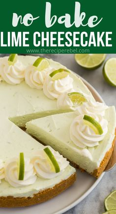 This easy Key Lime Cheesecake is a simple, no bake dessert that is perfect for Spring! It's sweet, tangy, creamy and so luscious! Made with fresh lime juice and zest. #cheesecake #lime #dessert | easy cheesecake recipe | no bake cheesecake | cream cheese recipe | green dessert | St. Patrick's day Lime Desserts, Summer Desserts, No Bake Desserts, Easy Desserts, Delicious Desserts, Dessert Recipes, Yummy Food, Green Desserts, Lime Cheesecake No Bake