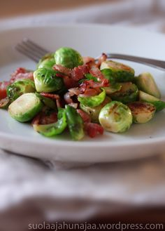 Brussel sprouts from my tiny and precious kitchen garden with bacon and nuts