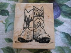 Rubber Stamp Southwest Fancy Cowboy Boots Super Detail Country Western Realistic
