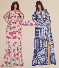 These illustrations are inspired by the lovely @bishamberdas and her middle easten vibes! Featuring two flowy dresses. [Left] A floral print with peephole sleeves. [Right] A long shirt mosiac print dress with a tie up belt.   For inquiries on freelance illustrations, personalised canvas or custom made outfits then email us at miss.desi.couture@gmail.com or DM