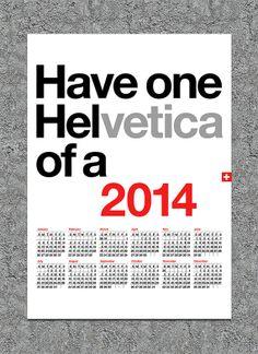 2014 calendar Helvetica poster print retro typography Mid Century Modern retro office kitchen art - Helvetica calendar 2014 A3
