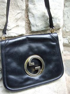 5113f41b790675 RESERVED for Tami Sale Pending GUCCI Vintage 1970s Blondie Black Leather  Handbag (Authentic)