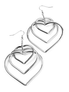 Image of 3 Heart Silver Tone Dangle Earrings