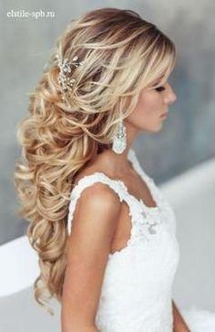 half opgestoken bruidskapsel lang haar