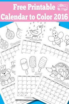 Printable Coloring Calendar 2016 Best Of Printable Calendar for Kids 2016 Kids Calendar, Free Printable Calendar, Free Printable Coloring Pages, Free Printables, 2015 Calendar, Blank Calendar, Calendar Time, Activities For Kids, Crafts For Kids