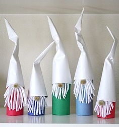 Cardboard Tube Gnomes Only a few supplies are needed to make these cute little gnomes with the kids. The post Cardboard Tube Gnomes was featured on Fun Family Crafts. Christmas Crafts For Kids, Holiday Crafts, Fun Crafts, Christmas Decorations, Summer Crafts, Cardboard Tube Crafts, Toilet Paper Roll Crafts, Christmas Gnome, Christmas Art