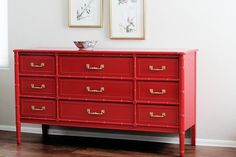 I'm about to start a few furniture projects to sell and some for clients and friends. So, I went gathering inspiration. I found so many gorgeous colorful furniture makeovers so I wanted to share them with you; as well as some of my own makeovers! I love the Spring and Summer because it's painting season! Check out these gorgeous makeovers! Gorgeous Yellow Dresser from Sweet Pickins Red Bamboo Dresser from Natty By Design Tiffany Blue Dresser Makeover – See my tutorial here. Coral TV Console…