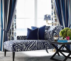 Blue chaise #lounge chair #pattern and #fabrics by Diane von Furstenberg for Kravet