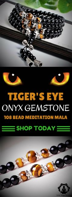 This beautiful Tiger\'s Eye Onyx Gemstone Meditation Mala is perfect for your meditation or as a complementary piece of jewelry for almost any outfit. Click to get yours now.
