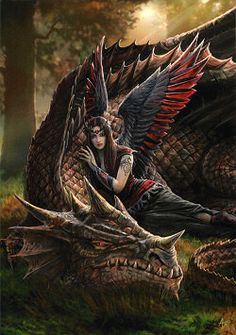 Anne Stokes Fairies | Winged Companions - Greeting Card by Anne Stokes - Dragon Cards ...