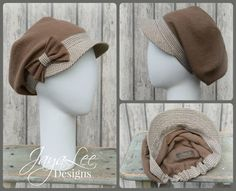 Summer Hat Earth Tones Slouchy Visor Beanie by GreenTrunkDesigns