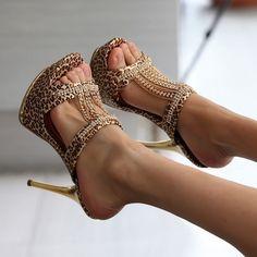 Sexy womens High Heels Rhinestone Stiletto Platform Leopard Slipper Sandal Shoes #other #Stilettos