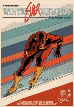 Superheros JO2014 Flash Patinage Affiches Vintage: Les Super Héros aux Jeux Olympiques dHiver
