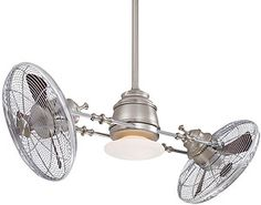 """Retro-urban-eclectic"" is how we'd describe the Vintage Gyro. Inspired by early 20th century commercial fans, it features knobby arms & finials, a flattened schoolhouse shade, and classic wire blade cages. The perfect choice for a modern loft or a vintage bungalow! Adjustable fan angle and independent rotation / speed controls offer infinite air flow options. The complete assembly rotates 360 degrees at 3 RPM."