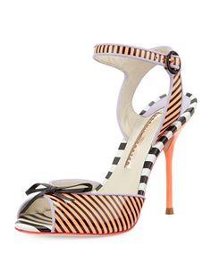 Sophia Webster Lula Striped Peep-Toe Sandal