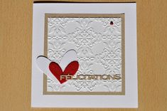 handmade wedding card ... luv the simple design ... baroque embossing folder texture ... die cut heart within negative space heart ...