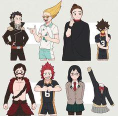 Haikyuu x my hero academia Anime Crossover, Fandom Crossover, Haikyuu Funny, Haikyuu Fanart, My Hero Academia Shouto, Hero Academia Characters, Dark Fantasy, Tamako Love Story, Chibi