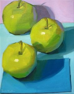 "Daily Paintworks - ""Three Green Apples"" by Robin Rosenthal"