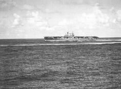 October 26, 1942: 10:08 hrs. USS Hornet CV-8 makes a high speed turn to port just before Japanese aircraft attack during the Battle of the Santa Cruz Islands.