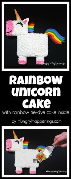 Create a unicorn cake using one 9x13 inch tie-dye-rainbow colored cake then decorate it with colorful and tasty candy clay. This Rainbow Unicorn Cake is perfect for a birthday party! See the video tutorial at HungryHappenings.com.
