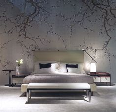 Exquisite bedroom with DeGournay plum blossom wallpaper Japanese Bedroom, Japanese Interior, Japanese Inspired Bedroom, Asian Interior, Home Bedroom, Bedroom Decor, Bedroom Ideas, Bedroom Lamps, Wall Decor