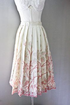 Silk Circle Skirt  1950s Painted Metallic by SalvatoCollection, $79.95