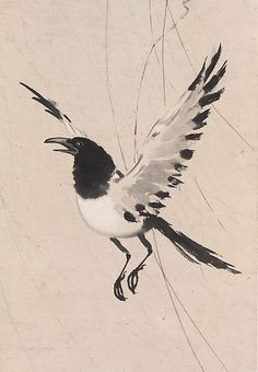 Xu Beihong (Chinese, 1895–1953) Flying Magpie 徐悲鴻(1895~1953) 柳鵲圖