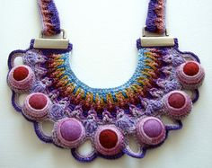 Lace Blue Freeform Crochet Necklace by saraaires on Etsy